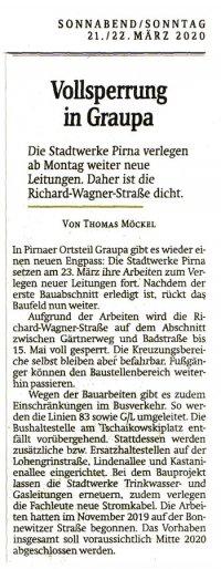 Artikel der Sächsischen Zeitung vom 21.03.2020