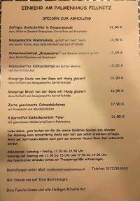 Speisekarte Palmenhaus Pillnitz
