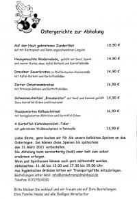 Speisekarte Palmenhaus Ostern 2021